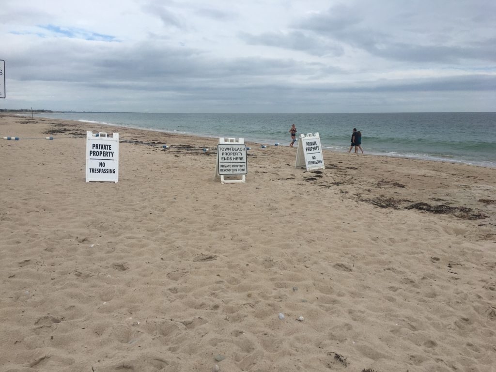 """Signs on South Kingstown, RI town beach claiming """"private property."""""""